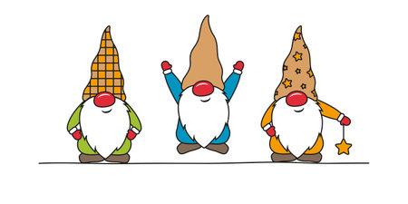 cute christmas dwarf colorful cartoon on white