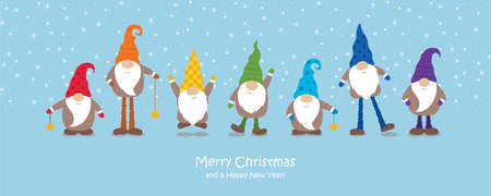 christmas greeting card with cute christmas dwarf in rainbow colours