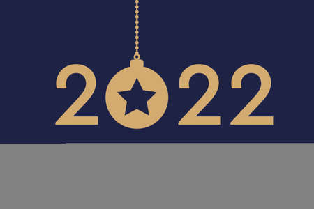 happy new year 2022 typography with hanging christmas ball Иллюстрация