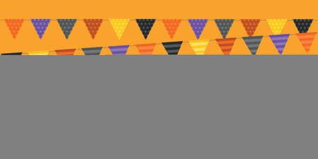 happy halloween orange background with party flag