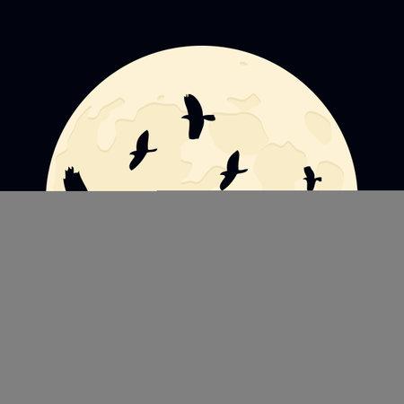 happy halloween flying raven on full moon background