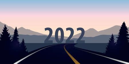 blue asphalt road forest landscape direction year 2022