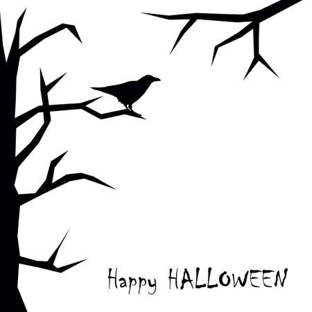 happy halloween card with raven on full moon background