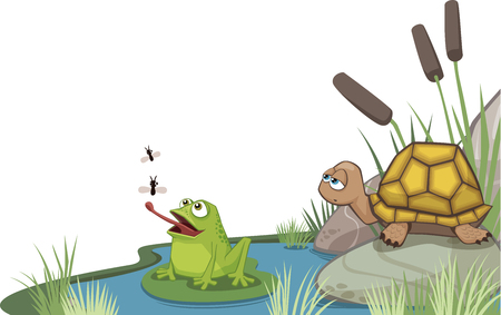 Frog and turtle icon. Illustration