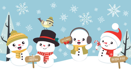 Winter Christmas scene with cute little snowman flat design