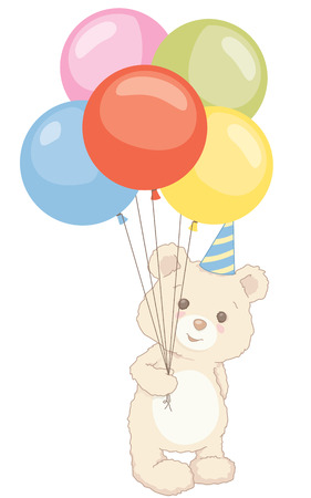 Cute little teddy bear standing while holding balloons with birthday hat.