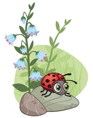 Cartoon corner design with ladybug and flowers illustration.