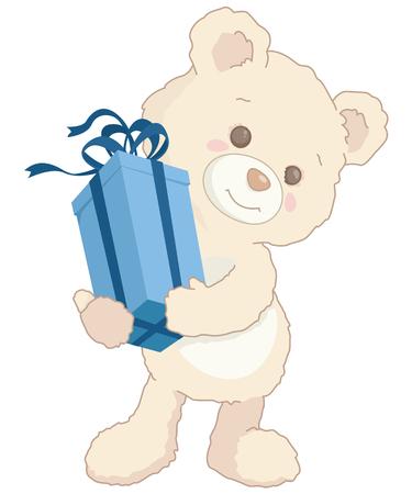 Cute little teddy bear holding a blue present illustration.
