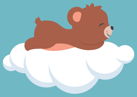 Cute little baby bear cub sleeping on a cloud. Baby shower card illustration.