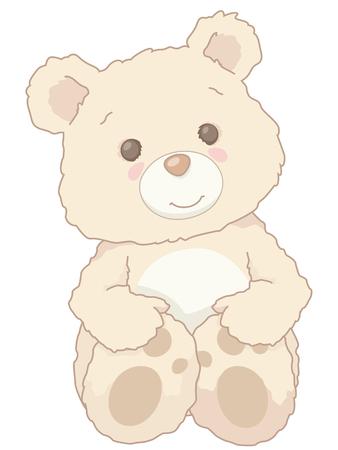 Cute little fluffy teddy bear sitting, holding back paws. Cartoon vintage style. Illustration