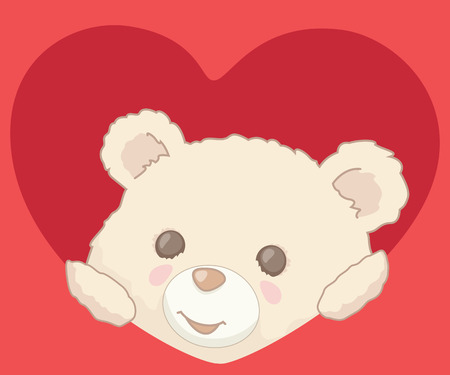 Cute little teddy bear peeking from a heart. Valentines Day card illustration. Illustration