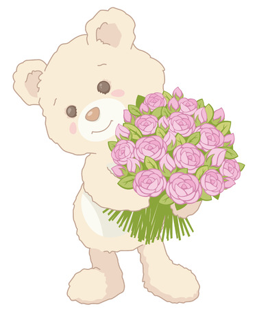 Cute little teddy bear holding a bouquet of pink roses. Vintage style. Valentines Day card Illustration. Illustration