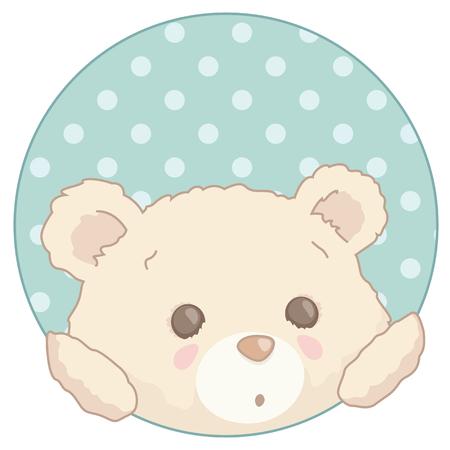Cute little teddy bear peeking from a polka dot patterned.