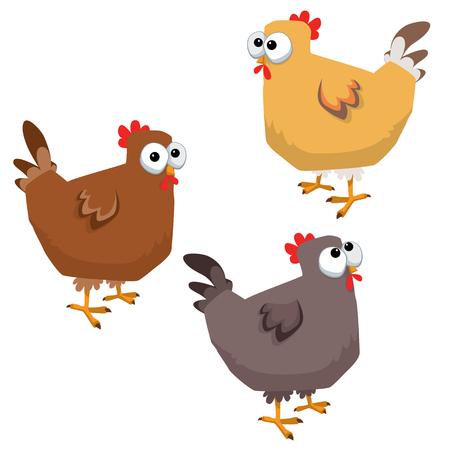 Cartoon big eyed funny chicken illustration. Ilustracja