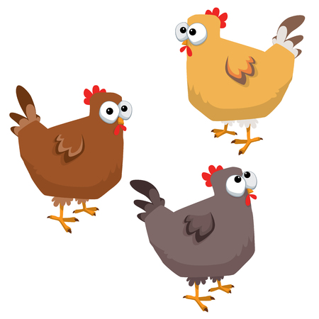 Cartoon big eyed funny chicken illustration. Illustration