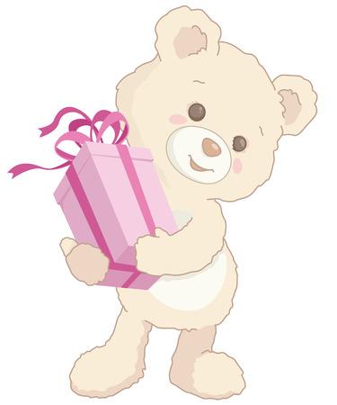Cute little teddy bear holding a pink present illustration. Illustration