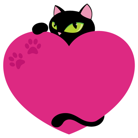 Elegant Black Cat With Pink Heart Copy Space Flat Vector Illustration Isolated on White Vettoriali