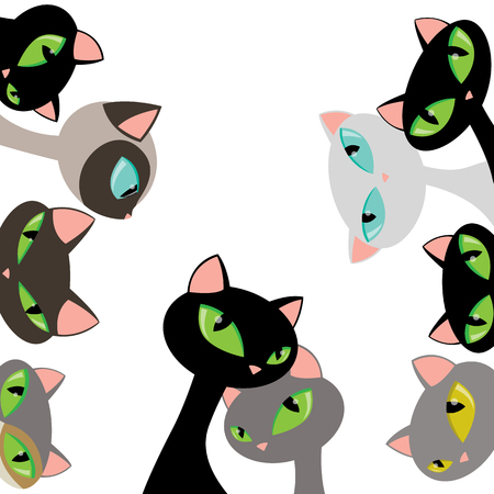 Elegant Cat Heads Peeking Design Set Flat Vector Illustration Isolated on White