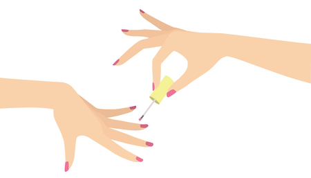 Elegant woman hand doing manicure applying nail polish