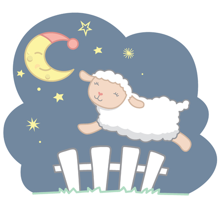 Cute Little Kawaii Style Sheep Jumping Over White Picket Fence Under the Crescent Moon with Night Cap and Stars Night Scene Dreamy Counting Sheep Vector Illustration