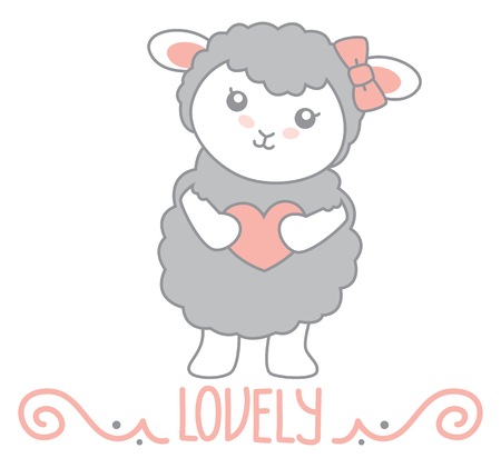 Lovely Little Kawaii Style Gray Sheep Standing and Holding Heart with Swirl Decoration and Lovely Text Vector Illustration Isolated on White
