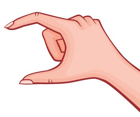 Mano della donna elegante che tiene qualcosa piccole dita piegate con l'illustrazione descritta vettore di stile del manicure francese retro isolata su bianco Archivio Fotografico - 94767648