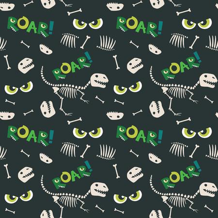 Ossa di dinosauro e seamless pattern di occhi spaventosi