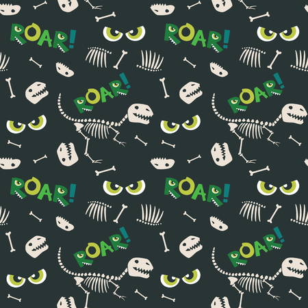 Dinosaur Bones and Scary Eyes Seamless Pattern