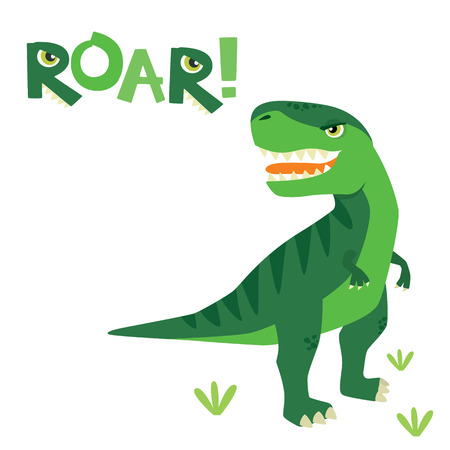 Cute Little Scary T Rex Dinosaur with Roar Lettering Isolated vector Illustration Ilustração