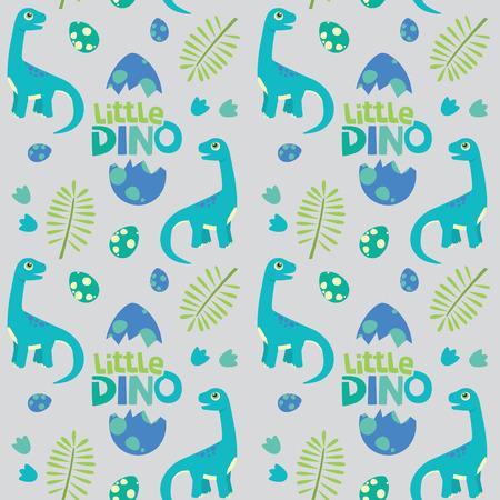 Little Dino Brontosaurus Seamless Pattern