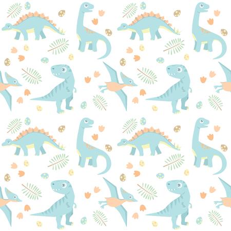 Little Blue Baby Dinosaur Prehistoric Seamless Pattern Vector Illustration