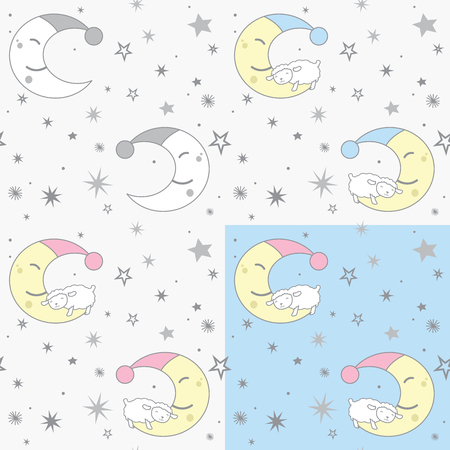 Cute Style Sheep Sleeping on Crescent Moon and Stars Light Colors Seamless Pattern Set