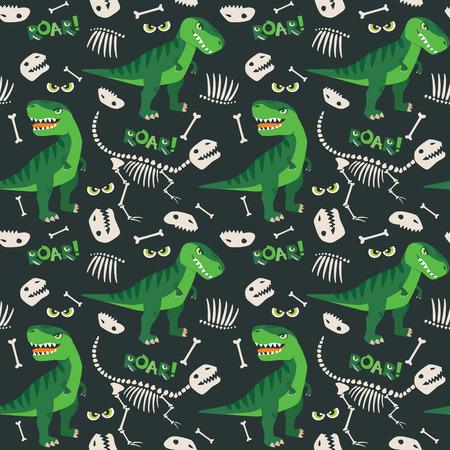 T Rex and Dino Bones Seamless Pattern 일러스트