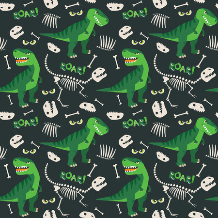 T Rex and Dino Bones Seamless Pattern Illustration