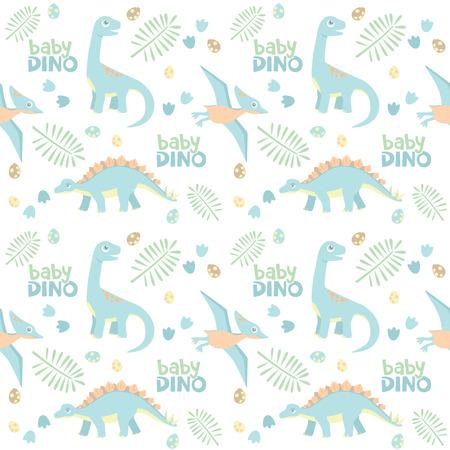 Baby Dinosaur Seamless Pattern