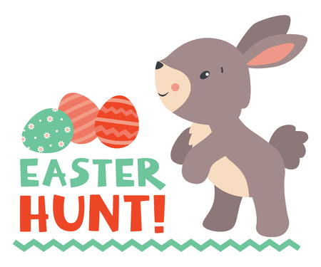 Cute little Easter rabbit with Easter hunt text and Easter eggs. Vector illustration. isolated on white background.