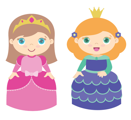 Two cute little princesses standing. Flat vector illustration, isolated on white background. 向量圖像