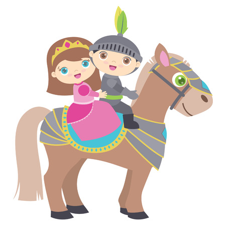 Cute little princess and knight riding a horse. Flat vector illustration, isolated on White background.