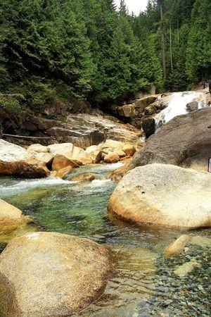 滝と山の中の川 写真素材