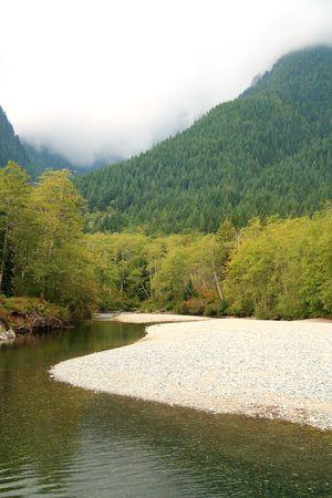 山を蛇行する川 写真素材