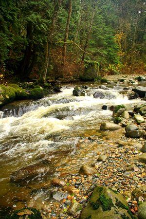 高速の流れる山川