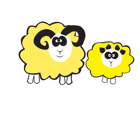 sheeps: Animals, Sheeps, Cartoons, family, Vector illustration