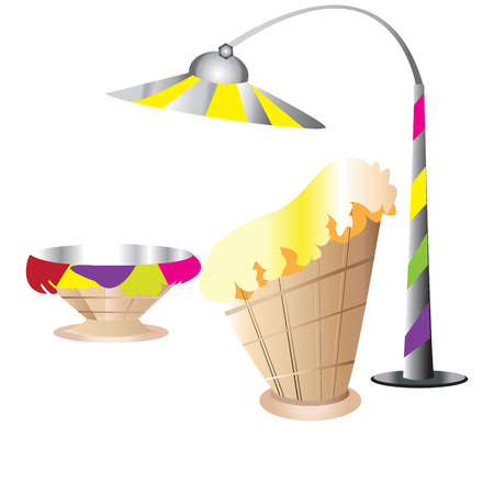 lamp on the pole: Ice Cream, Cream, Ice, Cafe, Furniture, lamp pole, Vector Illustration; Illustration