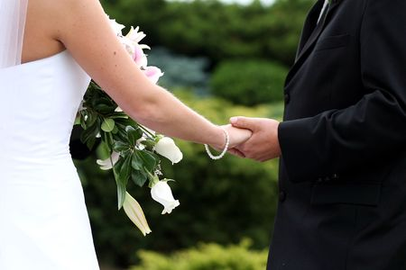 bride and groom holding hands at their wedding ceremony Stock Photo - 2850708