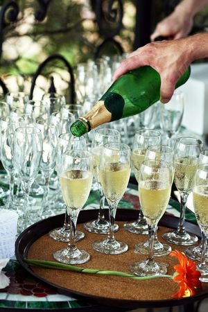 pouring champagne for a wedding reception Banco de Imagens