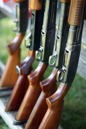 traps: guns in a row Stock Photo