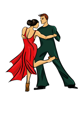 Vector illustration of a couple dancing tango, a woman in a red dress and a man on a white background.