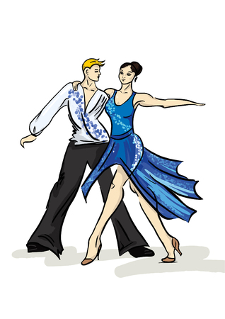 A vector illustration of a dancing couple, a woman in a blue dress and a man on a white background.