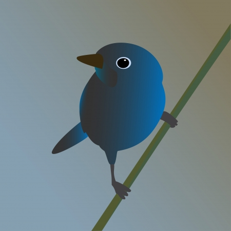pajaro azul: P�jaro azul en una ilustraci�n vectorial rama