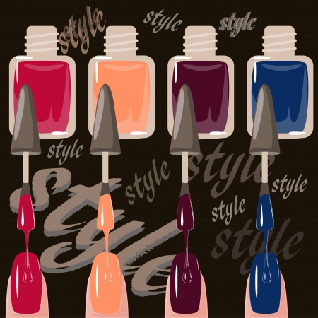 Set of multicolored nail polish brushes  vector